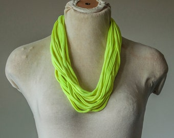 Recycled T-Shirt Necklace Yellow