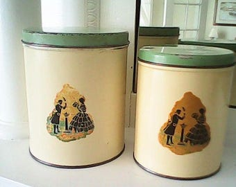 1940s  CANISTERS EDWARDIAN COUPLE Canadian Farmhouse Chic