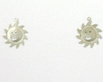 Sterling Silver Sun Face Charms, Set of 2