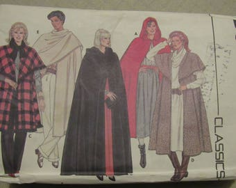 Vintage Butterick Sewing Pattern Cape Wrap Five Versions Lengths Hooded Capelet 1986 #6796 Sizes 6 to 22 Boho Only One Cut Complete