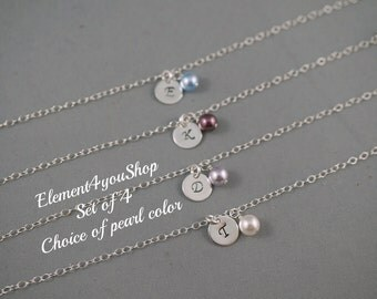 Personalized bridesmaid bracelet, Set of 4, Sterling silver, SALE, Initial alphabet charm, Bridal party gift,