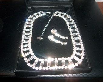 Zivot Rhinestone Necklace & Pierced Earrings w/Box, Costume Jewelry