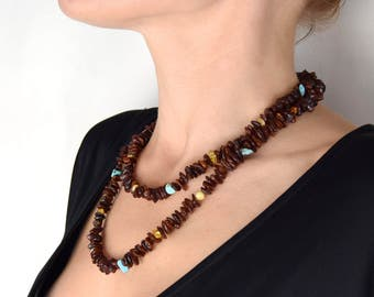 Baltic amber long necklace for women