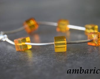 925 silver bracelet with amber for women