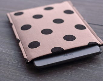Kindle Touch Cover Case, iPad Mini Sleeve, Kindle Paperwhite Case, Kindle 6'' Gadget Sleeve, Samsung Tab Padded Case, Polka Dot Fabric Case