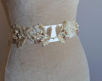 Bridal Sash, Wedding Sash in Gold Beige Champagne Tan, Gold Lace Wedding Belt, Wedding Dress Sash, Flower Sash, Bridal Belt - HARRIET