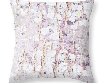 Tree Bark Photo Pillow Pink Abstract Accent Pillow Birch Bark Nature Photograph White Purple Accent Designer Throw Pillow Decorative Pillow