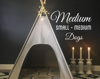"""Medium Dog Teepee/Tent-29"""" base - Choose - Natural, Gray, or Black Canvas - PICK YOUR PILLOW or Custom Order it"""