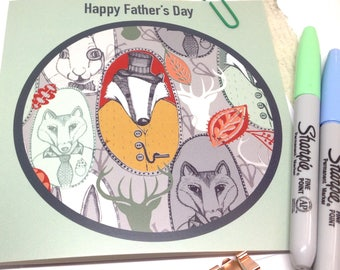 Father's Day Card, Traditional Card, Badger Father's Day Design, Green Greetings Card, Hand Illustrated Woodland Badger, Card for Dad's Day.