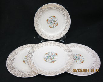 U S Warranted 22 k Gold Floral Gold China Bread (6 1/4 inch) Dishes (4)