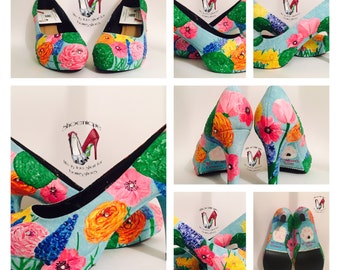 Flowers floral bridal bouquet flats wedding shoes High Heels Size 3 4 5 6 7 8 Platform UK Painted Custom Bespoke
