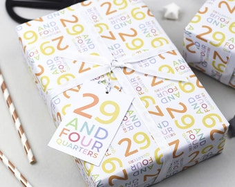 29 And Four Quarters Wrapping Paper Set, 30th Birthday, Gift Wrap