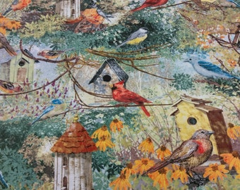 Backyard birds and bird houses fabric per half yard/ Novelty print bird fabric/ Bird lovers fabric