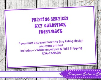Professional Printing Service - Print And Mail - Add-On Print Service - 5x7 cards - invitations - cards - thank you cards