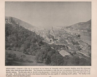 Heidelberg, Germany, City View and Students Dueling, 2 Prints from 1892 Photographs of Famous Scenes by Charles H. Adams