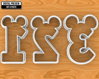 Mickey Minnie Mouse Number 1, 2, 3, 4, 5, 6, 7, 8, 9, 0 (one two three four five six seven eight nine zero) Cookie Cutter, Selectable sizes