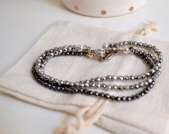 Silver and black hematite bracelet