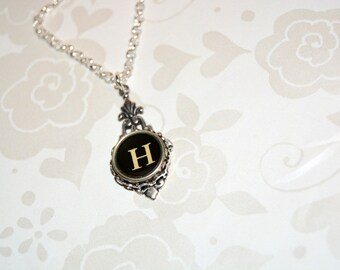 Typewriter Key Necklace, Personalized with a with a Letter H Initial, Typography Jewelry, Gift for Her.