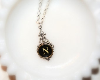 Typewriter Key Necklace, Personalized with a Letter N Initial, Gift for Her, Typography Jewelry.  Initial Jewelry.