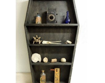 "Handmade Solid wood Coffin Shelf, 37"" tall ~ Gothic shaped curio, knick knack shelf, Solid wood"