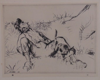 "Antique Edmund Blampied Dry Point Etching Print ""Purring and Snoring"" c. 1926"