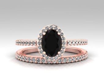 Black Diamond Engagement Ring Set Black Engagement Rings Oval Cut Natural Black Diamond and White Diamond Wedding Set 14K Rose Gold