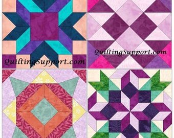 15 Inch Floral Block Set of 4 Paper Piece Template Quilting Block Patterns Set 1 PDF