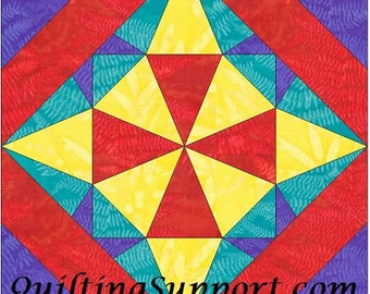 EQ Star 5 - 10 Inch Paper Piece Foundation Quilting Block Pattern PDF