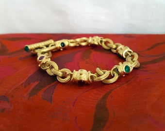 Vintage Toggle Bracelet w/Emerald, Red Jade, & Onyx in 14k Yellow Gold ~ Made in Italy~ -EB602