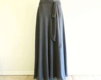 Long Bridesmaid Skirt. Dark Grey Maxi Skirt. Chiffon Evening Skirt.