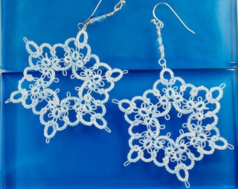 Arctic White Lace Snowflake Tatted Earrings
