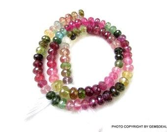 7 mm Approx.. Natural genuine MULTI TOURMALINE Micro Faceted Roundel Beads Quality AAA++ Gemstone....