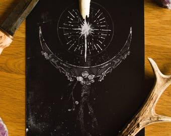CRESCENT MOON - Din A5 Art Print, North Star, Polar Star