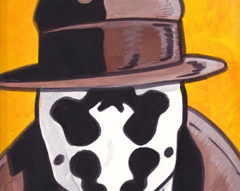 "Watchmen Rorschach Painting Acrylic  9"" x 12"""