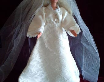 Vintage Barbie Handmade Wedding Dress w/ Veil
