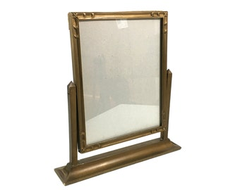 """12"""" Antique Gilded Wood Swing Frame with Table Mount Stand, 12"""" Tall Art Deco Style Gilt Tabletop Picture Frame, 8x10 Photo Size"""