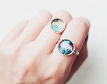Galaxy Ring | Outer Space | Celestial Jewelry | Galaxy Print Earrings | Nebula | Galaxy | Astronomy | Gift | Jewellery | Jewelry