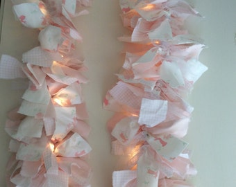 SALE Pink Bunny Fabric Lighted Garland
