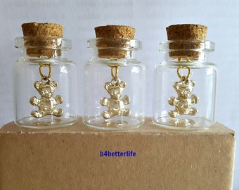 Lot Of 3pcs Gold Color Teddy Bear Metal Charm In A Mini Glass Bottle With Cork. #CIB352XX.