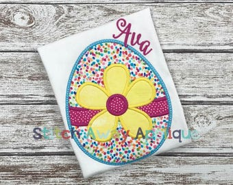 Flower Easter Egg Machine Applique Design