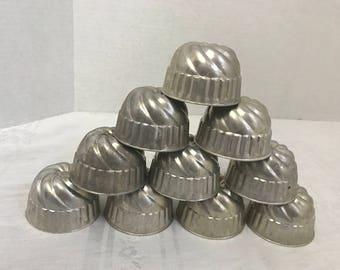 Aluminum Swirl Gelatin Cups or Molds - Set of 10