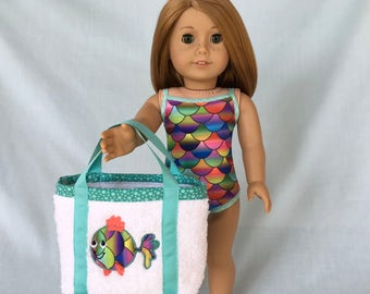 Rainbow Fish Scale Bathing Suit and Rainbow Fish Beach Bag for American Girl/18 Inch Doll