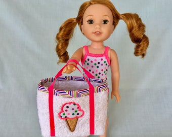Multi Colored Polka Dot Bathing Suit and Ice Cream Cone Beach Bag for Wellie Wisher/14.5 Inch Doll
