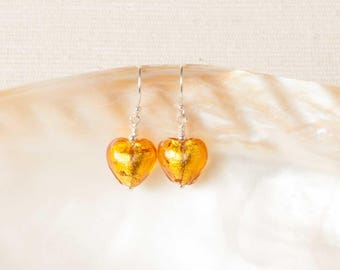 Glass Earrings, Gold Murano Earrings, Murano Heart Earrings, Venetian Glass Earrings, Sterling Silver Drop Earrings, Murano Glass, Uk Seller