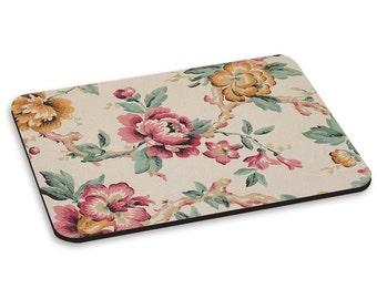 Vintage Flowers Beige Pattern PC Computer Mouse Mat Pad