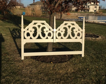 SOLD King headboard White  Hollywood Regency