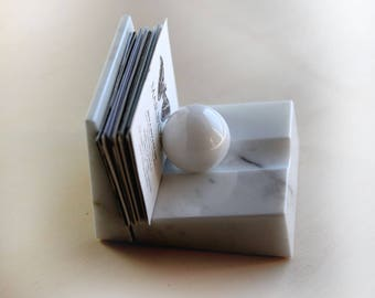 CARDBALL - Business Card holders of real white Carrara marble,