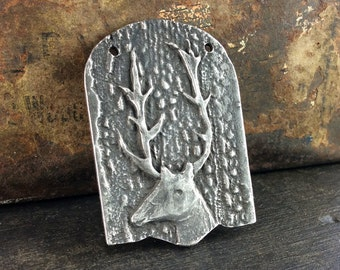 Handcast Deer Pendant Dark Aged Pewter Jewelry Elements No. 514PD