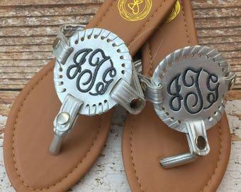 Monogram Sandals, Personalized Sandals, Monogrammed, Summer Sandals, Summer  Style, Monogrammed Shoes, Silver Sandals, Gold Sandals, Sandals