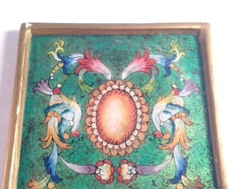 On Sale Decorative Trivet Coaster Robert M.   Weiss Glass Peru